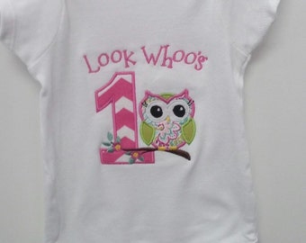 Look Who's 1 Little Girls First Birthday Bodysuit-T-Shirt