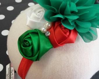 Boutique Christmas, Holiday Flower , Jeweled , Rosette Headband
