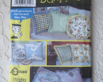 Simplicity 5808 Sewing Pattern For Dummies Pillows with Variations Round Pillow, Square Pillow, Heart Pillow, Neckroll Pillow Out of Print