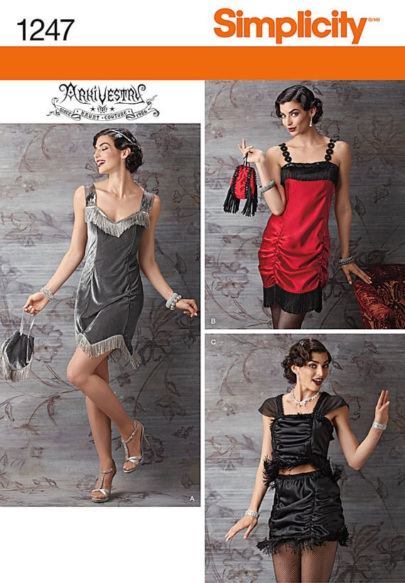 Simplicity 1247 Sewing Patterns 1920s Flapper Dress Top