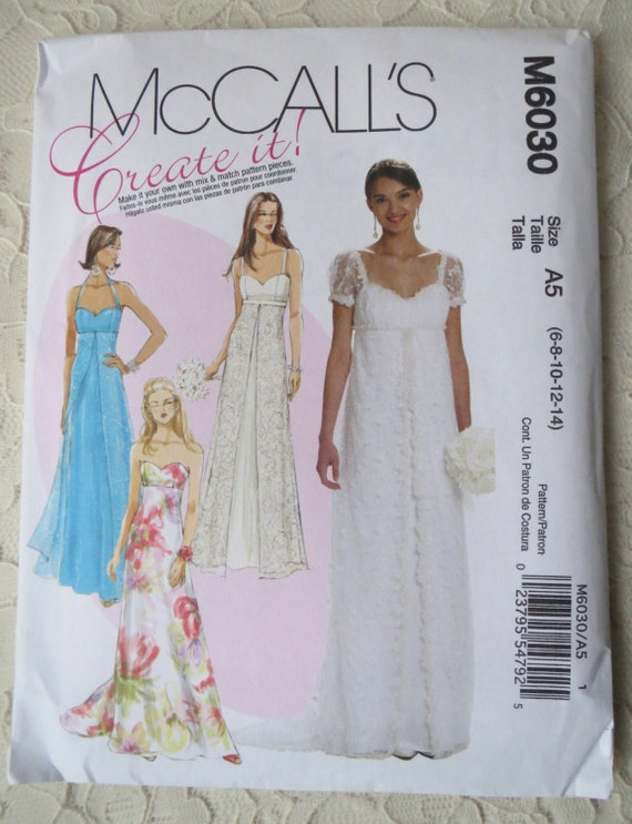 Mccalls m6030 sewing pattern wedding bridal gown bridesmaids for Mccall wedding dress patterns
