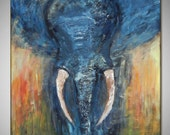 Abstract Elephant Painting ORIGINAL Modern Art - Painting - Animal Art  42x36 Advant Garde Art by BenWill