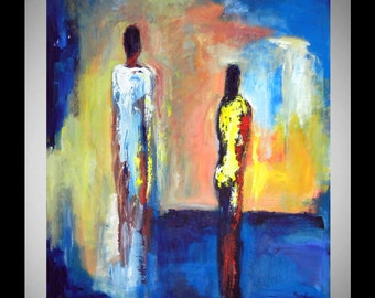 "Interactions ORIGINAL 36"" x 30"" Contemporary Abstract Art Painting Figures Blue and Yellow - Modern Art -  by BenWill"
