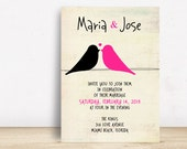 Love Birds Wedding Invitation  Template  Wedding Invitation Printable  Wedding Invitation Suite  Pink and Black Wedding  No 9