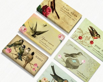Business Cards Custom Business Cards Personalized Business Cards Business Card Template Vintage Business Cards Bird Business Cards 3