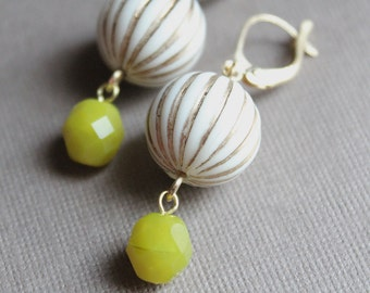 Teena Earrings - Striped Plastic & Glass Beads - Gold Plated Leverback Earwires - Chartreuse