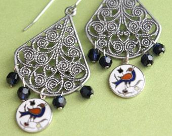 Finley Earrings - Silver Filigree - Swarovski - Hex Charms - Surgical Steel Earwires
