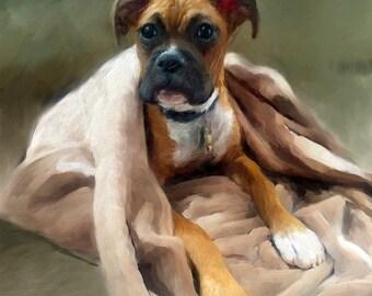 Boxer Dog Portrait - Pet Portraits - Custom Boxer Dog Portrait - Boxer Painting - From Your Photos - Boxer Dog Portraits by NC