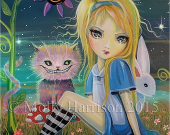 Alice in Wonderland Fantasy Fairytale Fine Art Giclee Print 8 x 10 - Molly Harrison Fairy Art - Big Eye