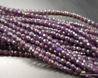 Czech 2mm Beads -  Faceted Round Czech Glass Beads Amethyst Bronze Picasso  - 50 pcs (G - 504)