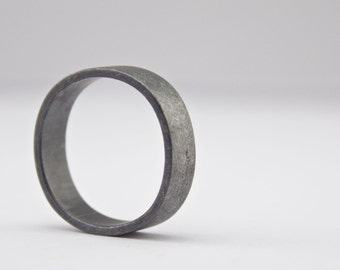 Rounded Square Ring - Black Diamond Ring - Roughed Up Finish - Wide Band Ring  - Mens Wedding Band - Eco Friendly  - Sterling Silver