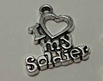I Heart My Soldier - 10 pcs. - Patriotic Charms - Silver Soldier Charms - Military Charms -  I Love My Soldier - Army Charms