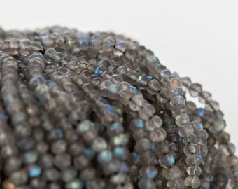 Labradorite Beads, 3.5mm - Gray Labradorite with Blue Flash - Faceted Rondelle Beads, 13 inch Strand - Item 288