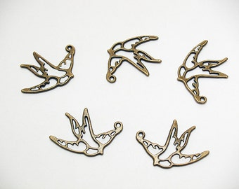 Antiqued Brass Swallows- lead free pendants- lead free jewelry findings- lead free charms- bronze pendants- bird pendants- bird charms