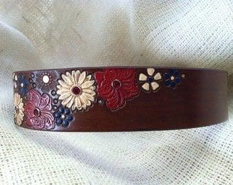 Rustic Dog Collar - Flowers - Dog Collar - Rustic