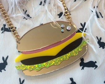 Hamburger Acrylic Necklace