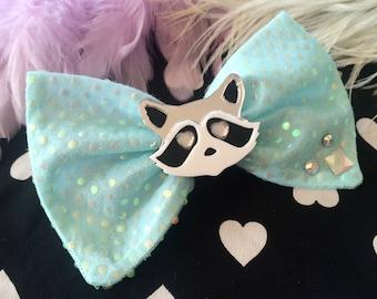 Baby Blue Raccoon Large Hair Bow