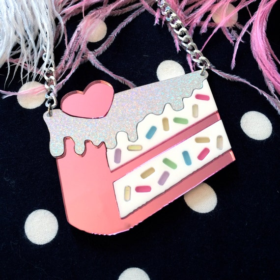 Funfetti Slice of Cake Acrylic Necklace