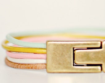 Eco-Friendly Pastel Leather Cuff Bracelet with Magnetic Clasp