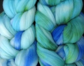 Cormo Wool Top, Blue and Green Top for Spinning and Felting, Hand dyed Combed Roving Fiber, 4 ounces