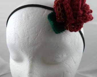 Clara Oswin Oswald - Crocheted Rose Headband - Dark Red and Gold Rose (SWG-HH-DWCO02)