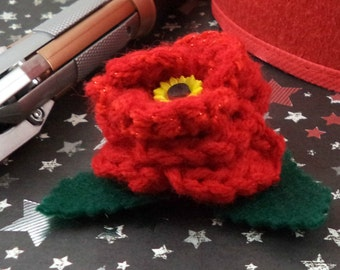 Amy Pond - Crocheted Rose Hair Clip - Glittery Red with Sunflower Embellishment (SWG-HC-DWAP02)