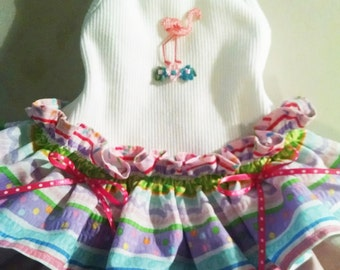 Dog Dress Dog clothes Flamingo dog dress Yorkie Chihuahua This Dress is Small