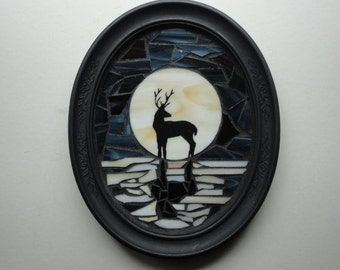 Stained Glass Mosaic Sculpture, Home Decor, Wall Hanging, Full Moon, Hand Painted Deer Silhouette, Reflection, Water, Night Sky, Moonlit