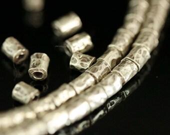 KI-001 thai karen hill tribes silver 10 black&white hammered tube bead
