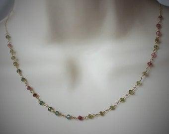 watermelon toutmaline wire wrapped necklace