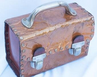 Copper Metal Purse France Lunch Bucket Suitcase Handbag SAC Du PARY'S Made in Mode de Paris Vintage 1960s Hand Bag