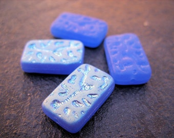 Azure Blue Czech Recrangle Beads with Abstract Design - B-8007