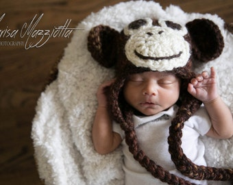Crochet Monkey Hat for Kids and Adults - Adorable Animal Hat - Cartoon Costume Hat - Curious George
