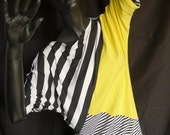 Sale! Colorblocked Dress, Black and White Stripe, Asymmetrical, Short Dress, Tshirt Dress, 80's Dress