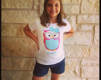 Back to School Owl with Glasses Appliqued Tee