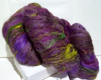 "fiber art batt, roving, felting, spinning, ""Thyme in the Garden"", PHAT FIBER Edition, yellow green, dark pink, purple, olive, chartreuse"