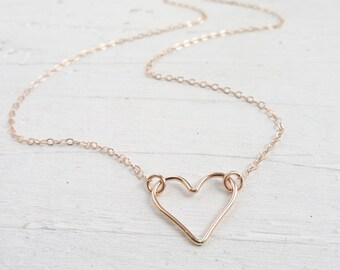 Rose Gold Heart Necklace Floating Wire Hearts Pendant Pink Gold Pendant Dainty Jewelry Anniversary Gift