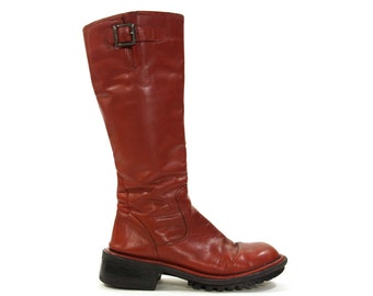 90s Red Leather Motorcycle Boots / Vintage 1990s Tall Comfortable Zip Up Rocker Moto Boots / Distressed Broken In / Women's Size 7 /