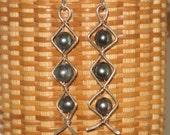 Sterling & Black Pearl Ladder Earrings