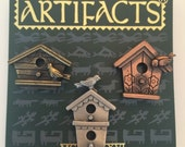 J&J Artifacts bird house themed gold tone, silvertone  and copper tone clutches lapel pins  vintage oldstock