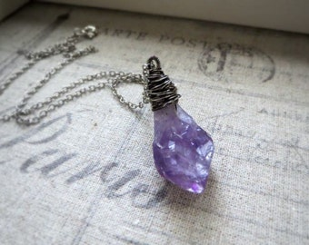 Rough Cut Amethyst Wire Wrapped Necklace