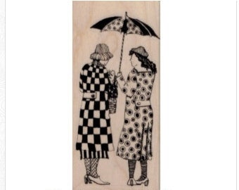 rubber stamp original sisters friends umbrella  zentangle  Mary Vogel Lozinak  tateam EUC team  19680
