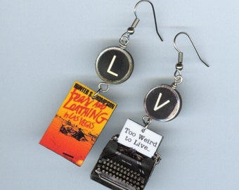 Book Cover EARRINGS - Fear and Loathing in Las Vegas - Typewriter key jewelry -Literary gift