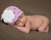 Toddler Hat, Baby Newborn Hat, Crochet Baby Hat, Baby Girl Hat, Lilac White, Baby Girl, Photo Prop, Baby Girl Beanie, Newborn Baby Hat