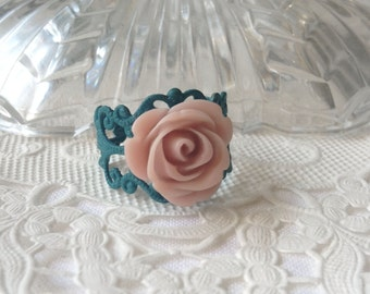 Teal & Taupe Floral Ring Pretty Turquoise Beige Flower Ring  Flower Ring Teal Flower Ring