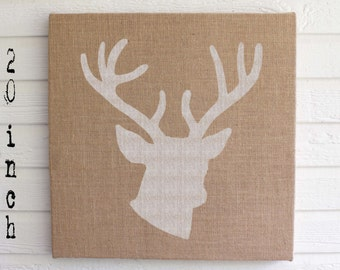 Woodland Deer -  Burlap covered Cork Message Board 20 inch - Deer Wall Decor - Bulletin Board, Memo Board - Stag Head - Deer Head - Antler