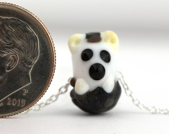 HEDGEHOG NECKLACE, sterling silver, tiny hedgehog, tiny jewelry, lampwork glass, hedgehog jewelry, dainty jewelry, glass bead,Mandy Ramsdell