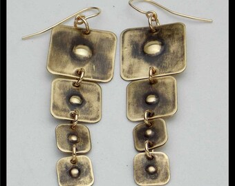 DIMPLED SQUARES - Handforged Dimpled Antiqued Bronze Long Statement Earrings