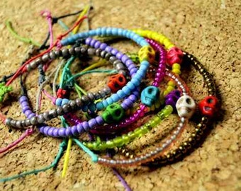 Colorful Beaded Skull Hemp Bracelets