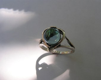 Sterling Silver Heart Ring With Aqua Aura